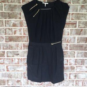 Maje SILK Moto Zipper Black Pocket Mini Dress S